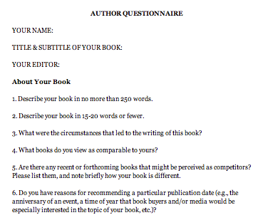 Author questionnaire