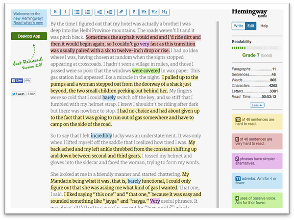 Hemingway manuscript editing software